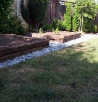 Helen Johnson's raised beds with Jarrah railway sleepers