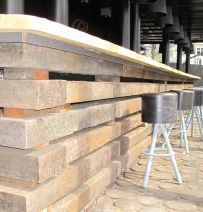 Norway restaurant with Jarrah railway sleepers