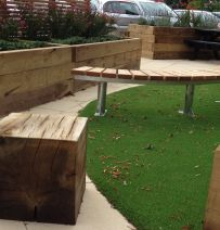 Hospital garden with railway sleepers & oak cubes