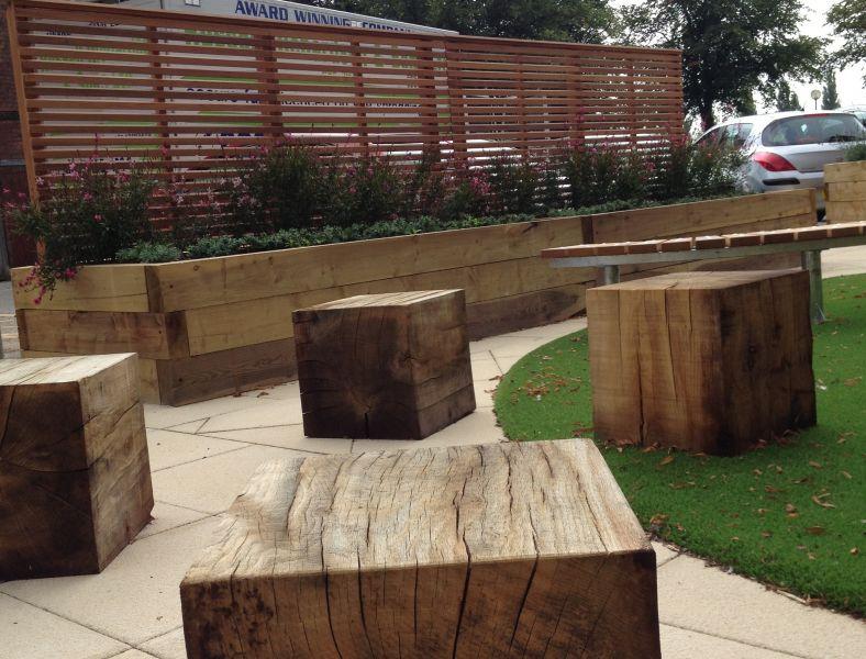 Hospital raised beds with railway sleepers for Garden designs using railway sleepers