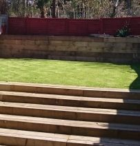 Howard's dramatic garden transformation with railway sleepers