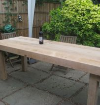 Banqueting table from new railway sleepers
