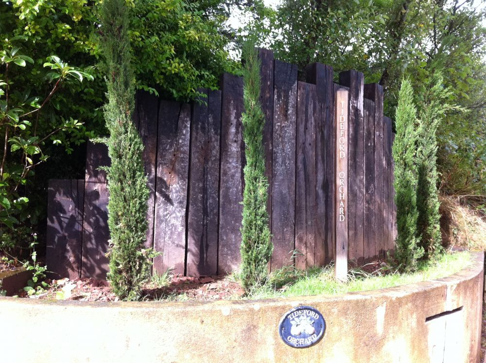 Tideford Orchard Vertical Entrance Wall With Used Railway