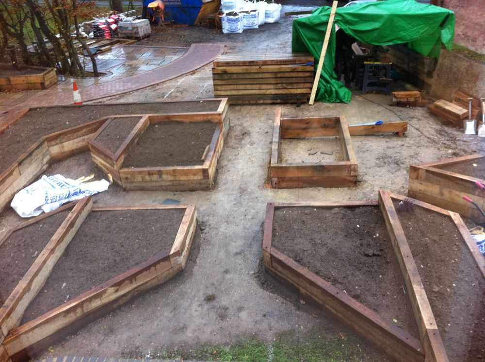 Railway sleepers used to create raised beds in a new garden for Garden design from scratch