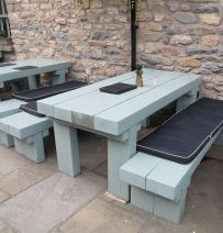 Random collection of tables made from railway sleepers