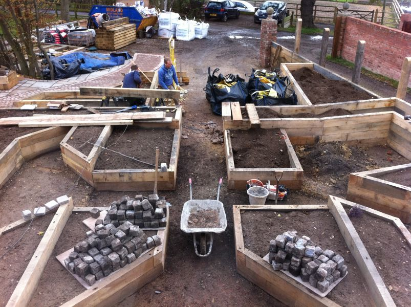 Railway sleepers used to create raised beds in a new garden
