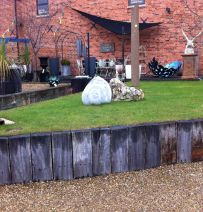 The Garden Yard's raised bed designs with railway sleepers