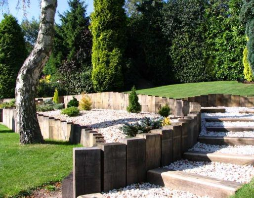 Daniel & Nicola's landscaping with oak railway sleepers