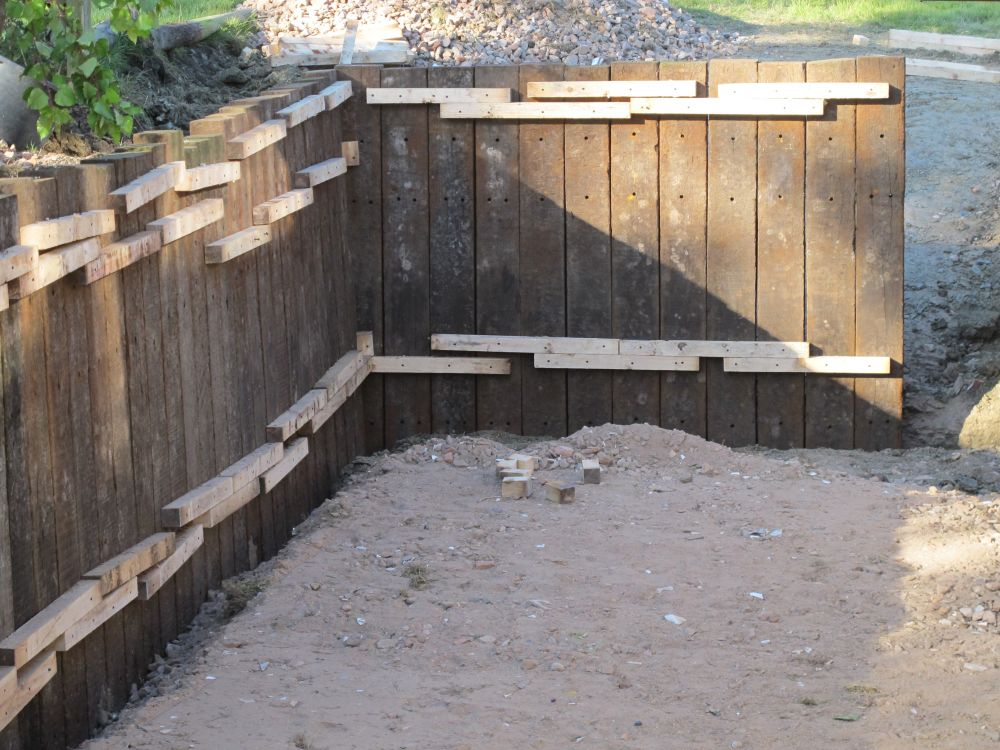 Retaining Wall With Azobe Railway Sleepers