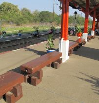 Railway Sleepers Benches at Thailand's Bridge over the River Kwai