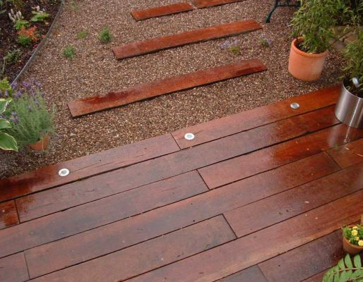 Jamie and Karen's stunning azobe railway sleeper patio