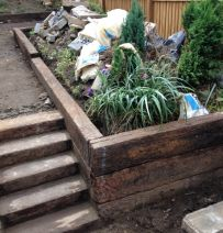Joe Bailey's Jarrah steps and retaining wall