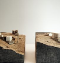 Architectural model with railway sleepers