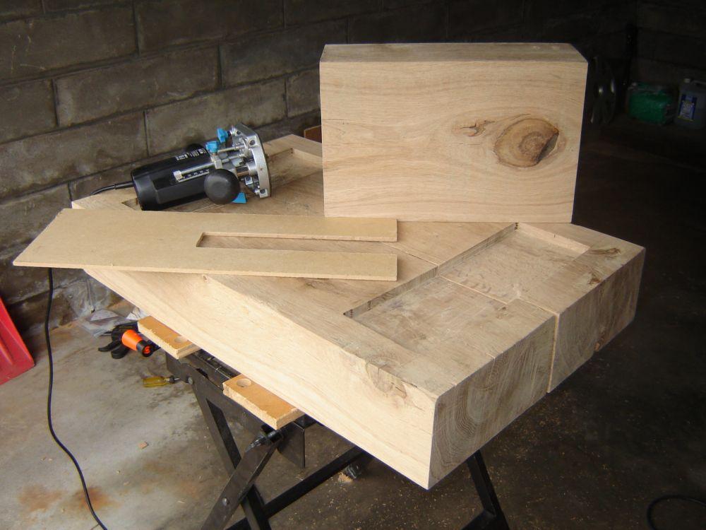 Coffee table with new oak railway sleepers