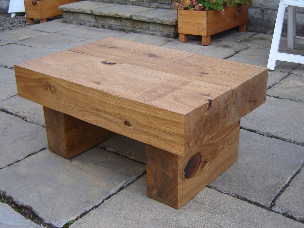 Coffee Table With New Oak Railway Sleepers