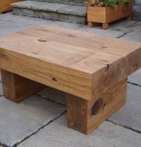 Alison's Coffee table with new oak railway sleepers