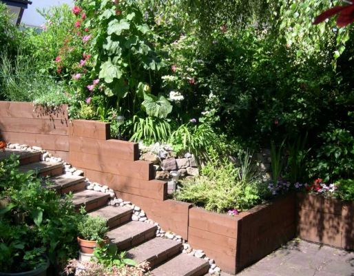 John Rollings's steps / retaining wall with railway sleepers