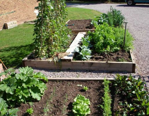 John's raised vegetable beds with railway sleepers