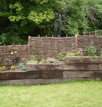 Jon's retaining wall with Jarrah railway sleepers