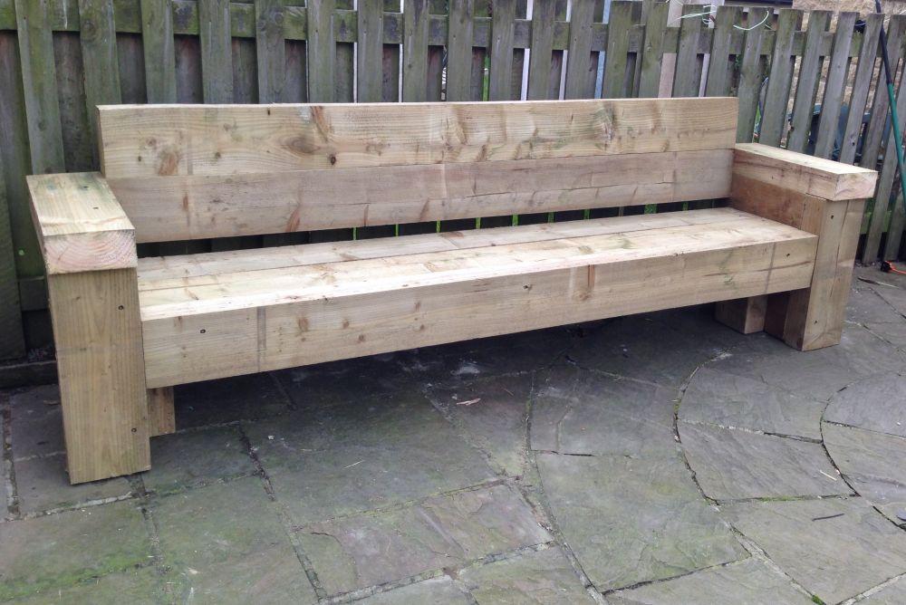 9ft Railway Sleeper Bench And Garden Seat