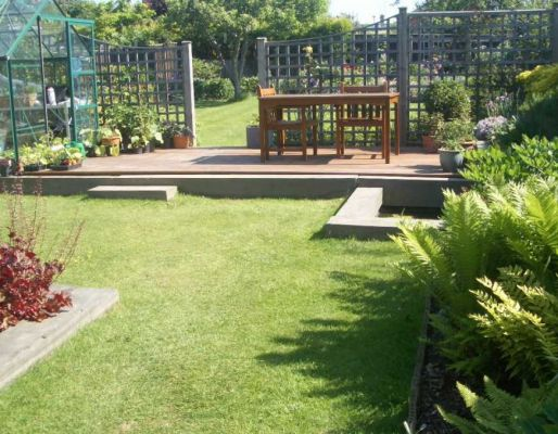 Kathy's landscaping with railway sleepers - 2 years on