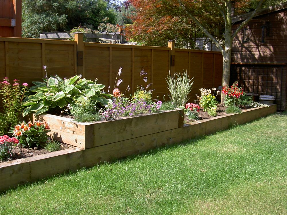 Raised beds from new pine railway sleepers for Sleeper garden bed designs