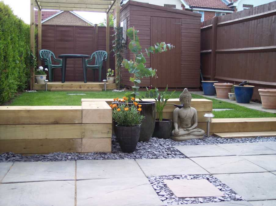 kerry bands landscaping project with railway sleepers - Garden Design Kerry