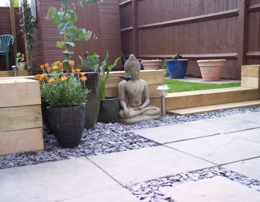 Kerry Band's landscaping project with railway sleepers