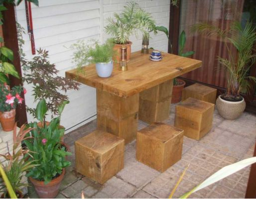 Kevin Gregson's table & chairs with new railway sleepers
