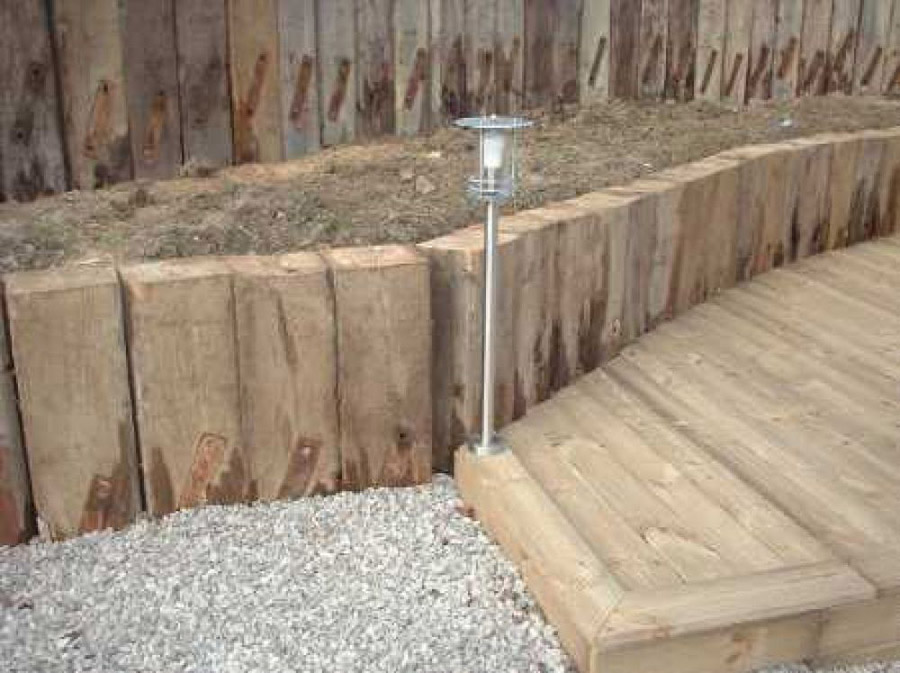 Used railway sleeper retaining walls for Garden designs with railway sleepers