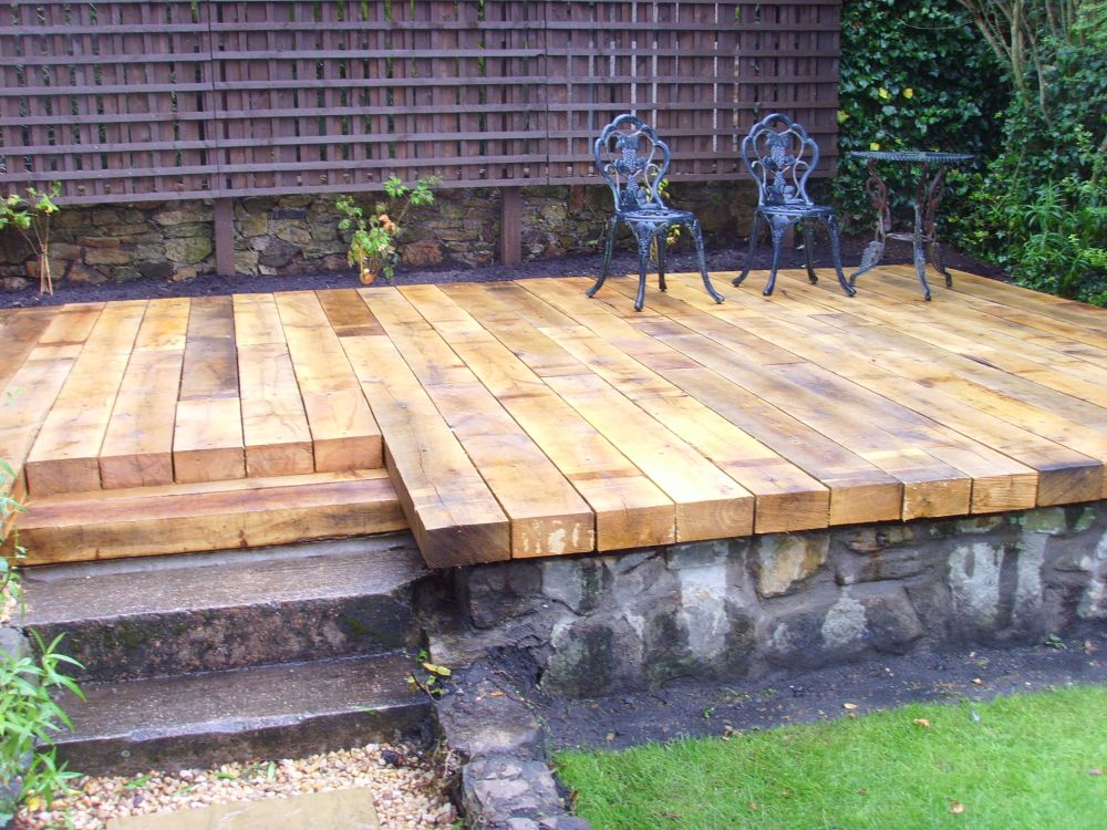 Scottish deck with new oak railway sleepers for Garden decking for sale