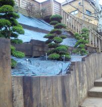 David Arkin's landscaping on a steep slope with oak railway sleepers
