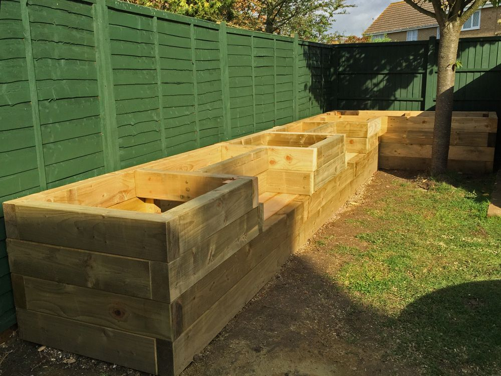 garden planters railway sleepers with Les Mables Raised Beds With Bench Seats From New Railway Sleepers on Stonecraft Paving Slabs Textured Buff also Cheap Paving Slabs Riven Black 450 X 450mm in addition Natural Granite Paving Dark Grey Patio Pack furthermore Planter Box also Square Floating Oak Coffee Table.