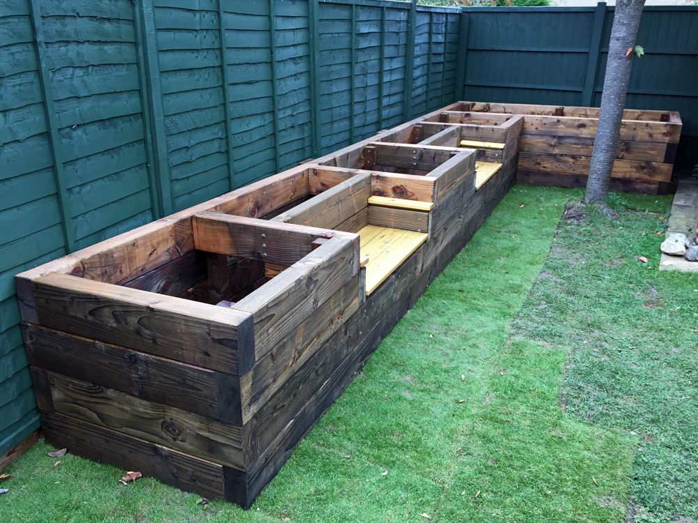 Les Mable 39 S Raised Beds With Bench Seats From New Railway Sleepers