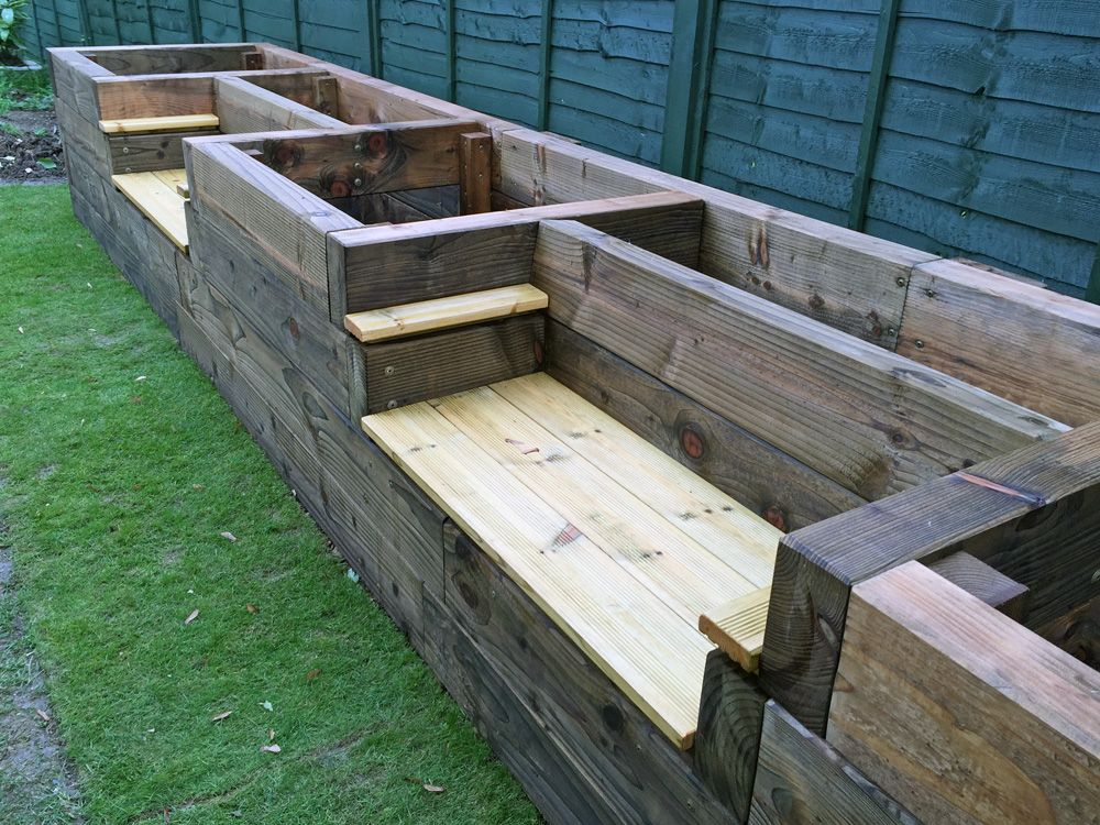 Les mable 39 s raised beds with bench seats from new railway - Raised garden beds design ...