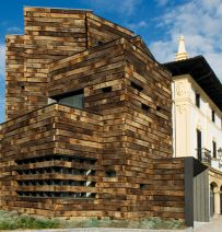 Spanish library made from reclaimed railway sleepers