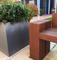 Liverpool Women's Hospital chunky railway Sleeper benches