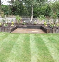 Louis Walker's wall & Raised Bed with Azobe Railway Sleepers