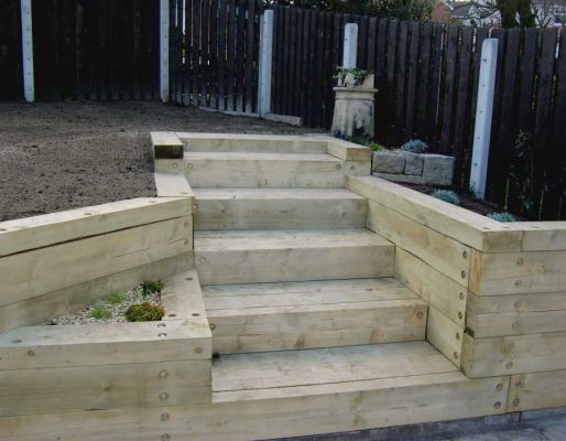 Raised bed projects with railway sleepers for Sleeper garden designs