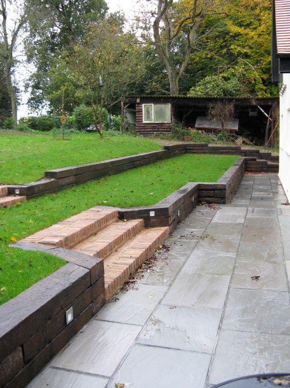 Marc S Retaining Wall With Used Dutch Oak Railway Sleepers