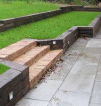 Marc's retaining walls with Dutch oak railway sleepers