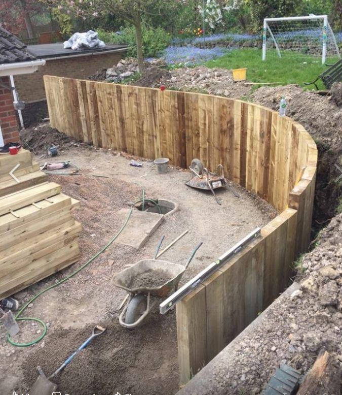 Wood Retaining Wall Ideas: Curved New Railway Sleeper Wall