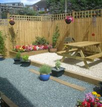 Martin's patio with new railway sleepers