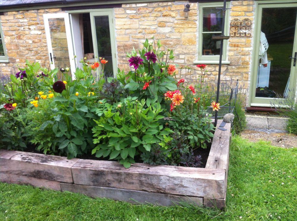 Melisa\'s raised railway sleeper vegetable bed