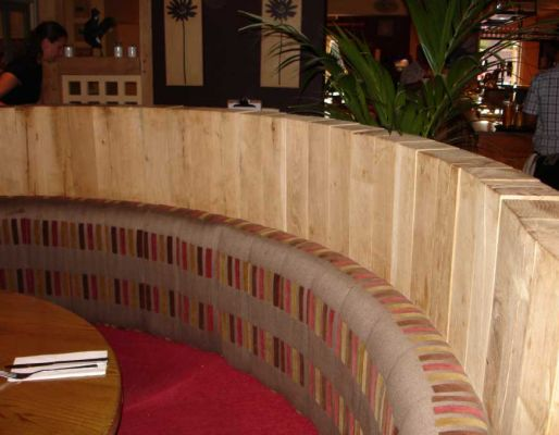Harvester restaurant's dining area with railway sleepers
