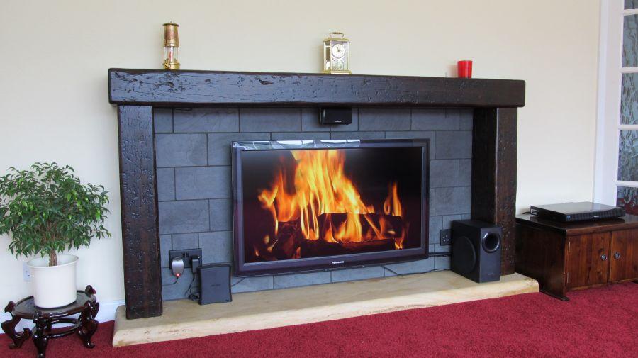 Fireplace With Used Railway Sleepers