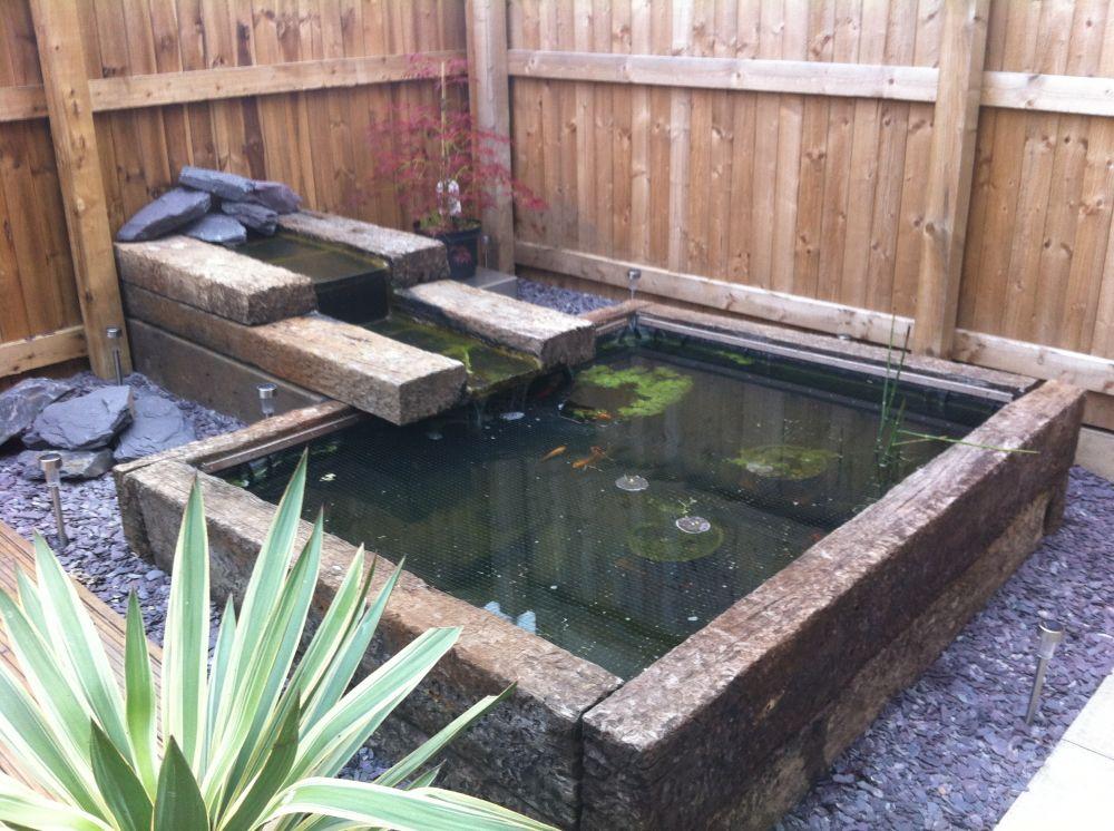 Mick 39 s railway sleeper pond for Corner fish pond