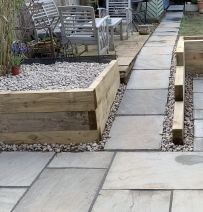 Neil's raised beds with new pine railway sleepers
