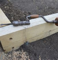 Neil's terracing with new oak railway sleepers & timberlok screws