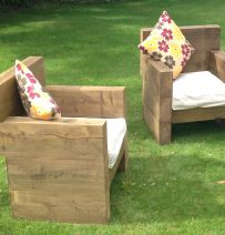 Classic armchairs created from new railway sleepers